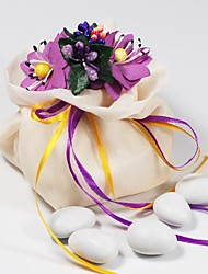 10 PCS Double Layer Cream Chiffon Wedding Favor Candy Bags Drawstring Pouch with Purple Handmade Flower