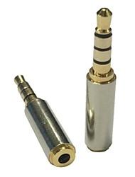 3.5mm de oro masculina para auriculares de 2,5 mm de audio estéreo convertidor femenino del adaptador de micrófono