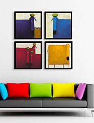 Abstract Small Animal Framed Canvas Print Set of  4