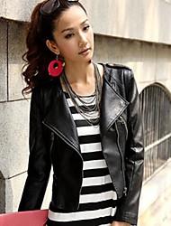 estilo curto casaco de motor pu magro das mulheres