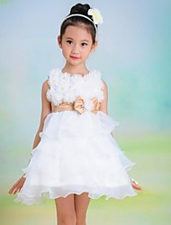 Girl's White Flower Bow Cake Tutu Princess Lovely Bridesmaids Wedding Dresses