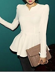 GGN Women's V Neck Solid Color Ruffle Bodycon Long Sleeve Blouse