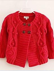 moda e coringa de duas carreiras de tricô botões do casaco de menina