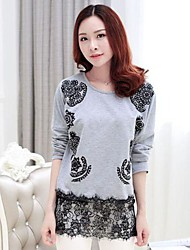 Women's Round Collar Geometric Patterns Lace Joining Together Shirt