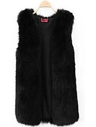 Fur Vests Black Fashion Causal Faux Fur Vest