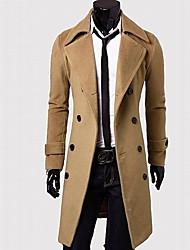 moda double tweed mama casaco longo dos homens Huizi