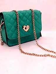Mortise Lock Green PU Crossbody Bag Lolita Handbag
