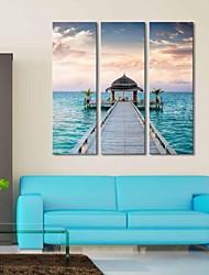 Stretched Canvas Art Maritime Boardwalk  Set of 3