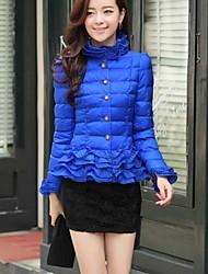 Women's Fashion High Collar Slim Ruffles Short Style Cotton-padded Jacket Coat