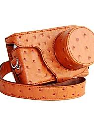 pajiatu® pu cuero de avestruz cámara grano funda protectora cubierta de la bolsa para Samsung Mini nx NXF1 con lente 9-27mm