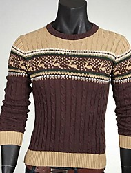 Men's Korean Style Slim Fawn Jacquard Sweater