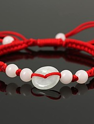 Fashionable Unisex China Style Jade  Red Woven String Stretched Bracelet Red(1Pc)