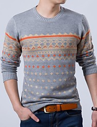 Men's Round Neck Fashion Slim Ethnic Jacquard Pullover Knitted Sweater