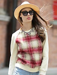 europeu contraste xadrez estilo cor da moda camisola dos veri gude® mulheres