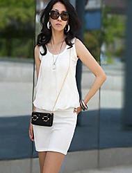 todo vestido sleevless color sólido partido empalme E.9 de las mujeres