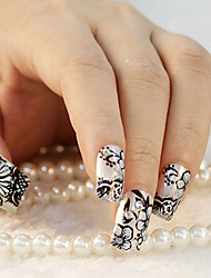24PCS Elegant Flower Black&Sliver Rhinestone Nail Art Tips With Nail Glue&Nail File