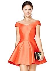Women's Solid Orange Dress , Vintage Off Shoulder Sleeveless