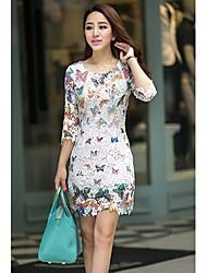 LULU Women's Butterfly Print 3/4 Sleeve Temperament Slim Lace Dresses