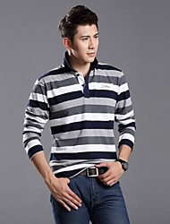 XinYuanGe® Men's Polo Collar Striped Long Sleeve Casual Band New Fashion Tops T-Shirts