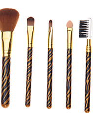 5PCS Mini Gold Tiger Stripes Handle Makeup Brush Sets