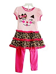 Girl's Leopard Dress / Pants,Spandex / Cotton Blend Summer / Spring / Fall Pink