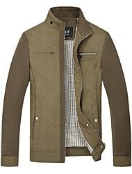 SIQILONG®Men's Winter Stand Contrast Color Leisure Long Sleeve Jacket Coat