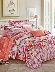 H&C ®  Thicken Cotton Sanded Fabric Duvet Cover Set  4 Pieces Flower Pattern Orange Pink Multi-Color