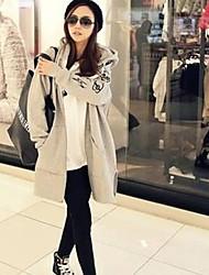Мода материнства сократился с капюшоном на молнии теплой длинном пальто