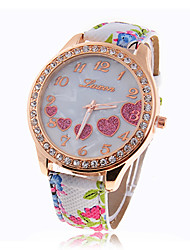 Women's Heart Pattern Round Dial Flower PU Band Quartz Wrist Analog Watch