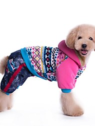 honden Jassen Blauw / Roze Winter Geruit / Jeans