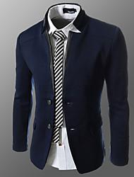 cuello alzado de dos botones bodycon chaqueta de los hombres ensueño