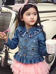 Girl's Lovely Mesh Stitching Ruffle Collar And Hem Demin Blouse(Mesh Color Random)