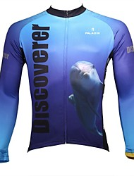 ILPALADINO Cycling Jersey Men's Long Sleeve Bike Breathable Quick Dry Ultraviolet Resistant Jersey Tops 100% Polyester AnimalSpring