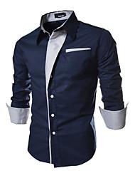 Повседневный - MEN - Повседневные рубашки ( Хлопок / Смешанная хлопковая ткань Как у рубашки - Длинный рукав