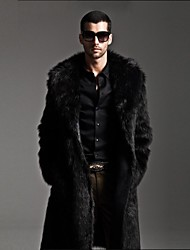Men's Fashion Fur Mink Colar Pure Color Imitation Fur Warm Long Coat