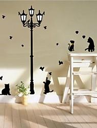 zooyoo® coloré joli pvc animal chat amovible dans la nuit de stickers muraux chaudes stickers muraux de vente pour la décoration