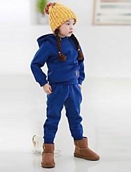 детский модный досуг чистый цвет теплый двух частей, комплект одежды