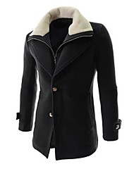 Men's Solid Casual / Work / Formal Coat,Cotton / Polyester / Wool Blend Long Sleeve-Black / Red