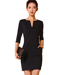 AAE   Women's Character Black Dresses , Bodycon / Casual / Work Asymmetrical ¾ Sleeve
