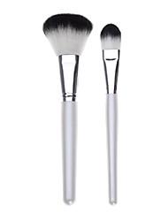 2PCS Blush Brush&Powder Brush Kits White Handle