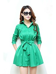 Women's Polo Collar Green Slim Long Sleeve Dress