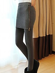 Women's Skinny Leggings with Zipper Skirt