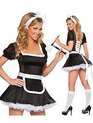 Sexy Girl Black and White Terylene Maid Costume