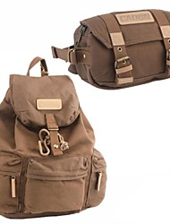 Canvas Backpack SLR DSLR Digital Camera Gadget Organizer Bag+Compact Camera Waist Bag Coffee