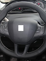 XuJi ™ Black Genuine Leather Steering Wheel Cover for Peugeot 208
