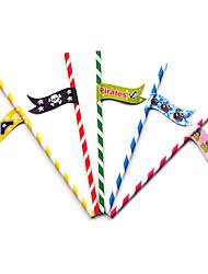 Happy Birthday Skull Flag Party Straws (25/Package Random)
