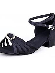Non Customizable Kids' Dance Shoes Latin Satin Chunky Heel Black/Yellow/Red