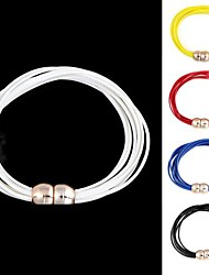 Unisex Fashionable Multilineal Layer Leather Magnetic Buckle Hand Cord (1Pc) (More Colors)