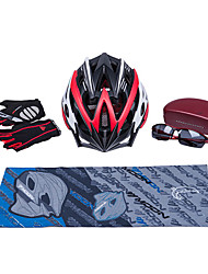 MOON New Red+Black Cycling Gift Box Set Including 21 Vents Helmet Carbon Fiber Glasses Short Finger Gloves and Scarf