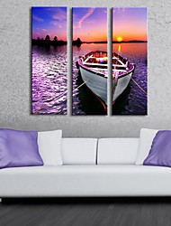 Stretched Canvas Art Docked The Ship  Set of 3
